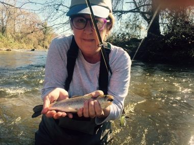 Meet my first rainbow trout, caught on a vintage Wright-McGill rod that belonged to my husband's grandfather.